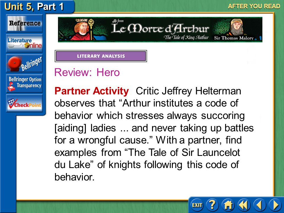 Unit 5, Part 1 Le Morte d'Arthur AFTER YOU READ As you learned on pages 968–969, a hero is the chief character in a literary work, typically one whose