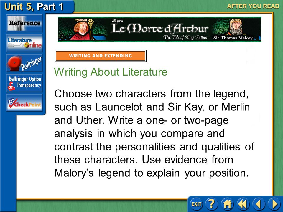 Unit 5, Part 1 Le Morte d'Arthur AFTER YOU READ Writing About Literature Compare and Contrast Characters Malory introduces and describes strong charac