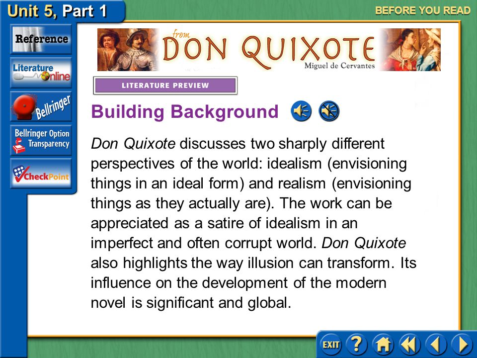 Unit 5, Part 1 Don Quixote BEFORE YOU READ Cervantes published the novel Don Quixote in two parts, the first in 1605 and the final in 1615. The excerp