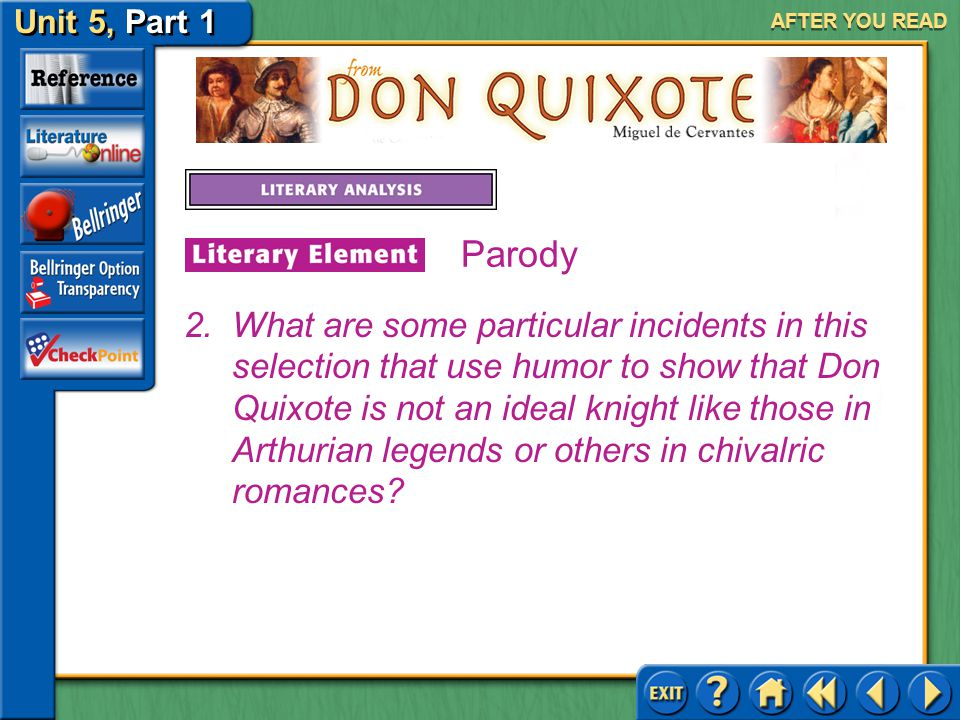 Unit 5, Part 1 Don Quixote AFTER YOU READ Parody Answer: It is a sort of higher wisdom. In his madness, Don Quixote sees meek people as good. He can c