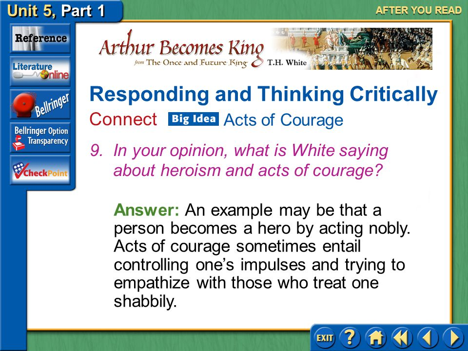 Unit 5, Part 1 Arthur Becomes King AFTER YOU READ Answer: Yes, because becoming king was an enormous step and people felt great respect for their king