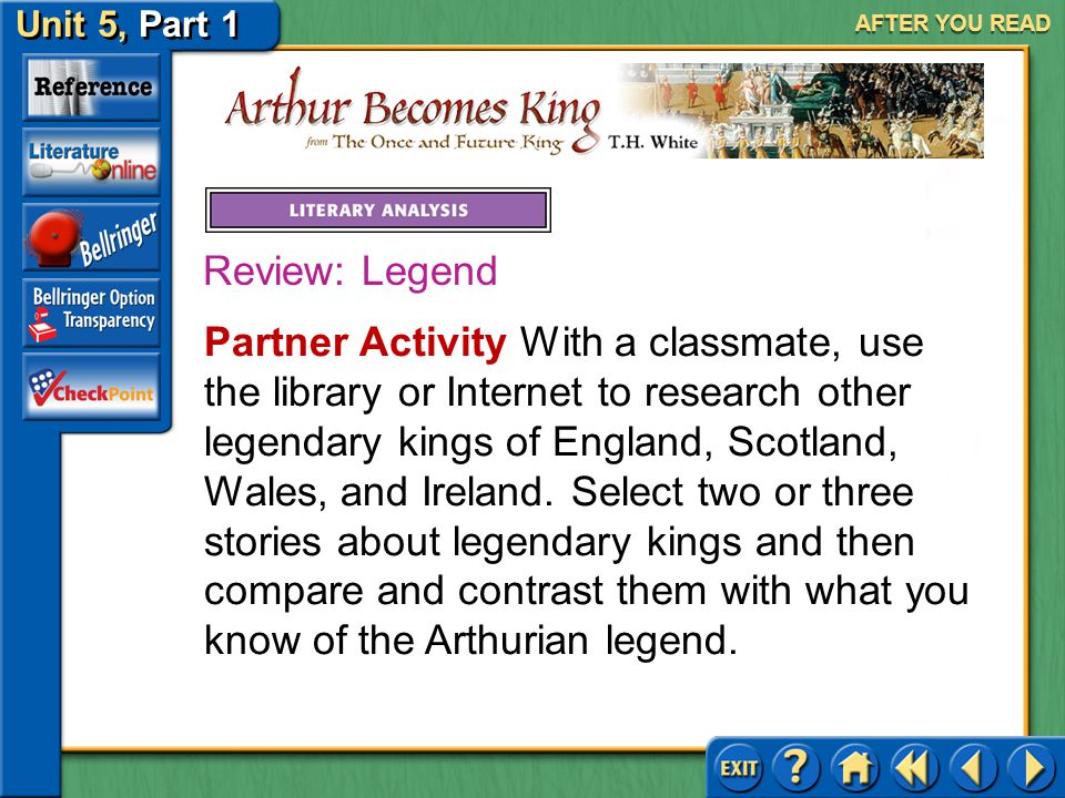 Unit 5, Part 1 Arthur Becomes King AFTER YOU READ As you learned on pages 968–969, a legend is a story usually based on actual events that have been e