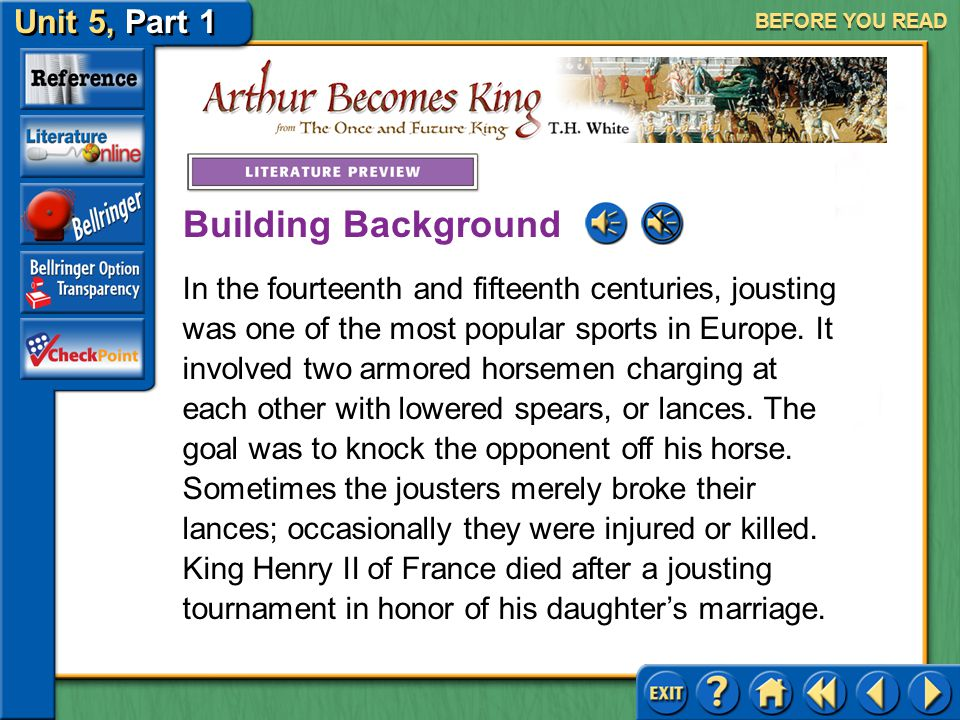 Unit 5, Part 1 Arthur Becomes King BEFORE YOU READ This story takes place somewhere in England at some time during the medieval period when men wore a