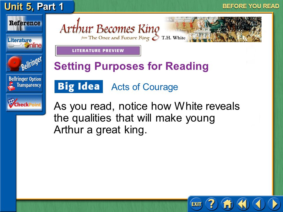 Unit 5, Part 1 Arthur Becomes King BEFORE YOU READ In the fourteenth and fifteenth centuries, jousting was one of the most popular sports in Europe. I