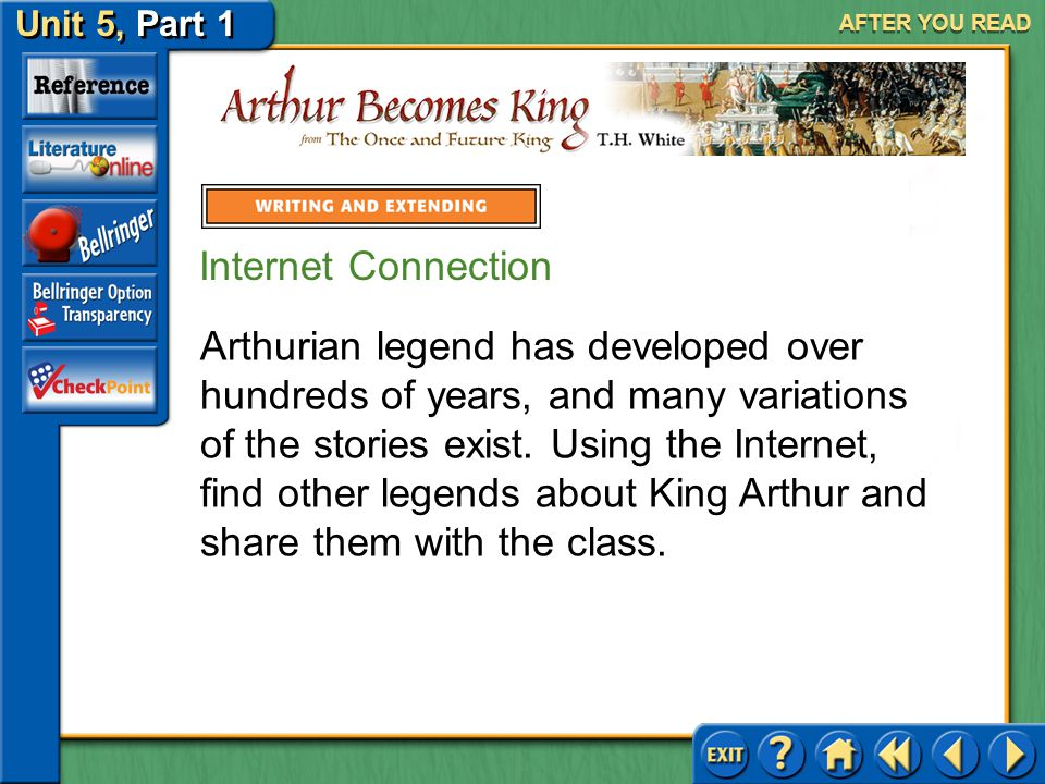 Unit 5, Part 1 Arthur Becomes King AFTER YOU READ Present your opinion of Wart's character in a concise thesis statement. Add supporting evidence. Ref