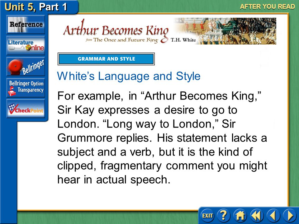 Unit 5, Part 1 Arthur Becomes King AFTER YOU READ Using Fragments for Effect A sentence fragment is a word group written as a sentence but lacking eit