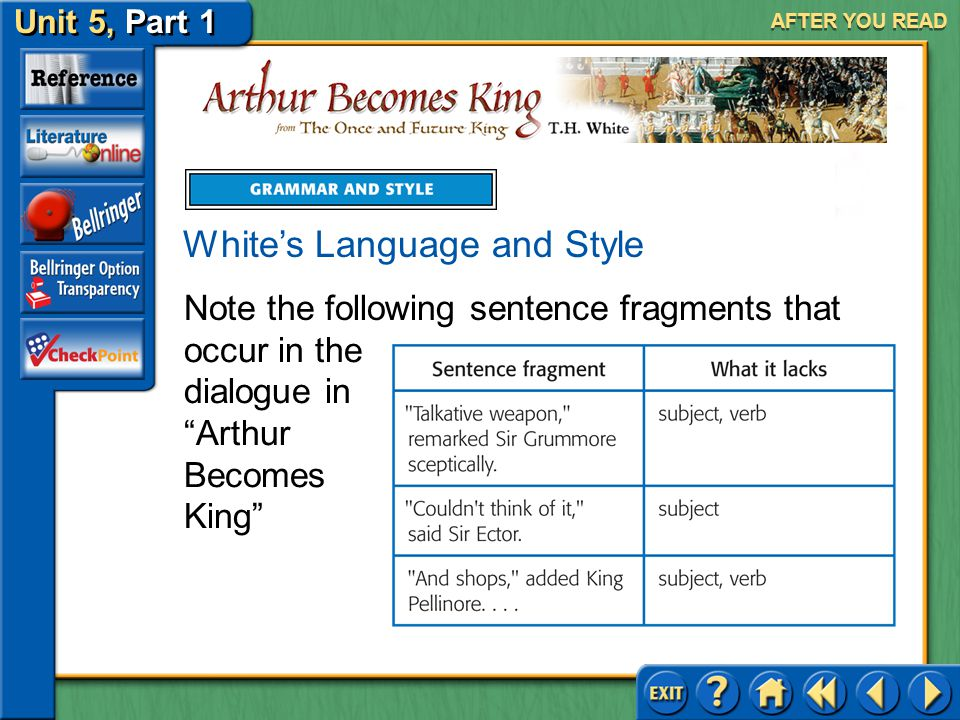 """Unit 5, Part 1 Arthur Becomes King AFTER YOU READ For example, in """"Arthur Becomes King,"""" Sir Kay expresses a desire to go to London. """"Long way to Lond"""