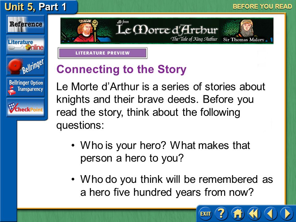 Unit 5, Part 1 Le Morte d'Arthur BEFORE YOU READ Meet Sit Thomas Malory Click the picture to learn about the author.