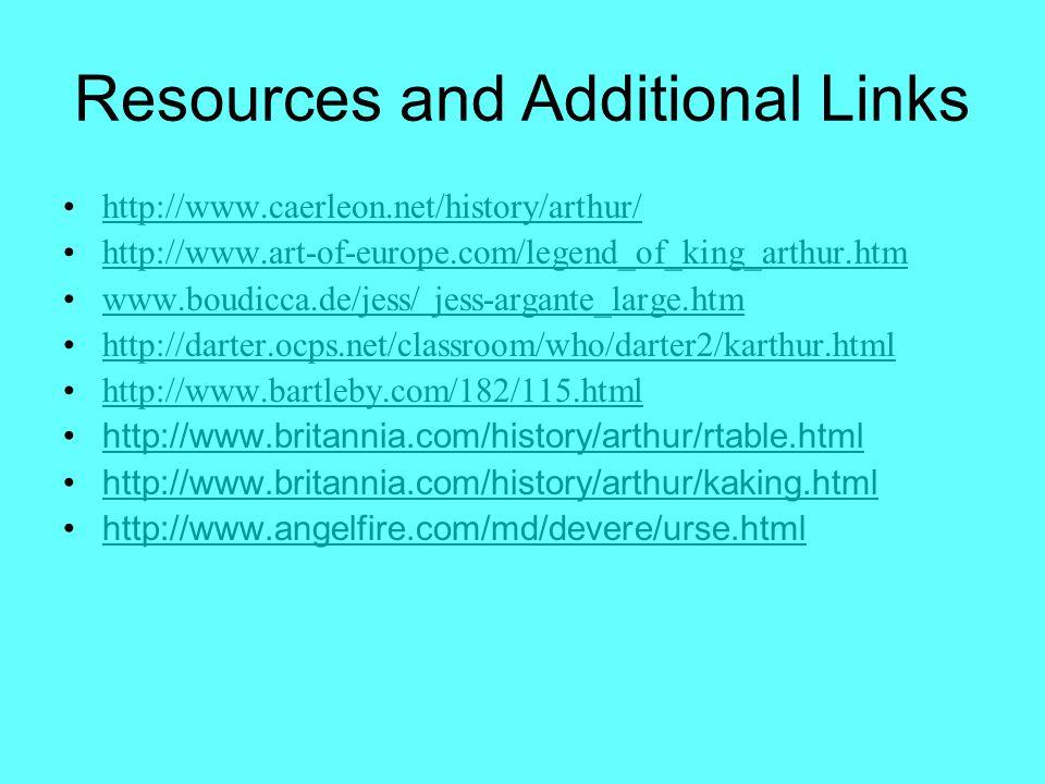 Resources and Additional Links http://www.caerleon.net/history/arthur/ http://www.art-of-europe.com/legend_of_king_arthur.htm www.boudicca.de/jess/ je