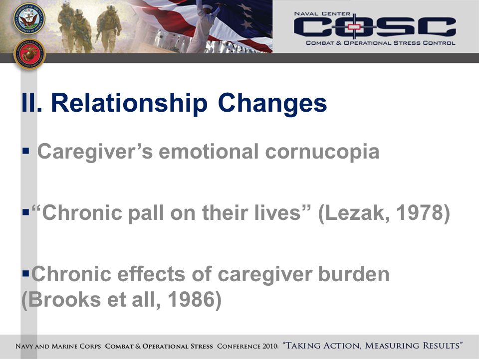 "II. Relationship Changes  Caregiver's emotional cornucopia  ""Chronic pall on their lives"" (Lezak, 1978)  Chronic effects of caregiver burden (Brook"