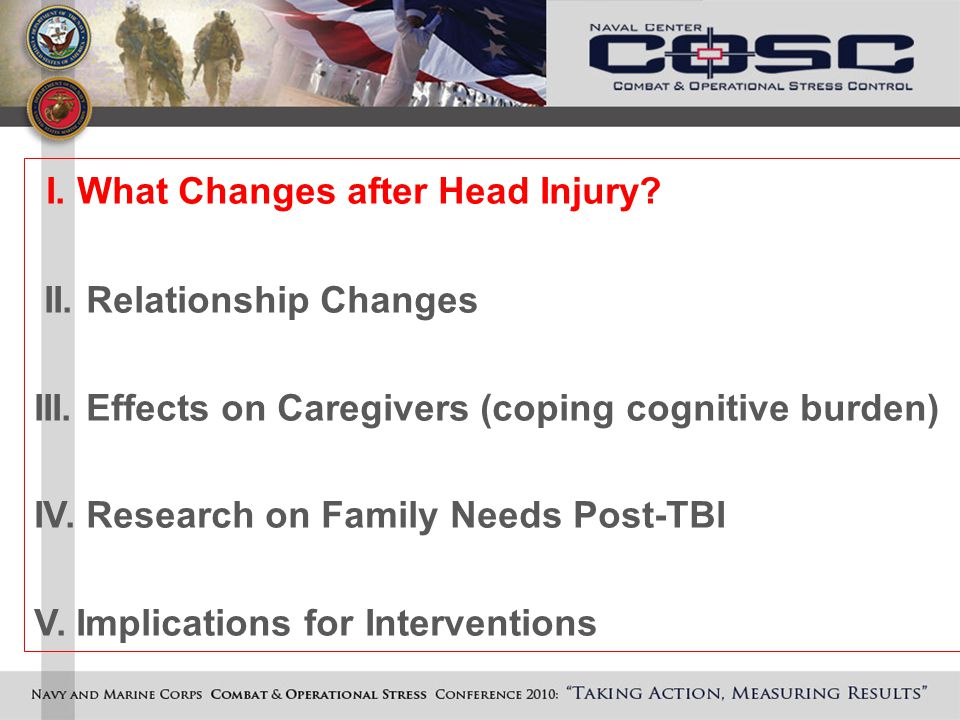 I. What Changes after Head Injury. II. Relationship Changes III.