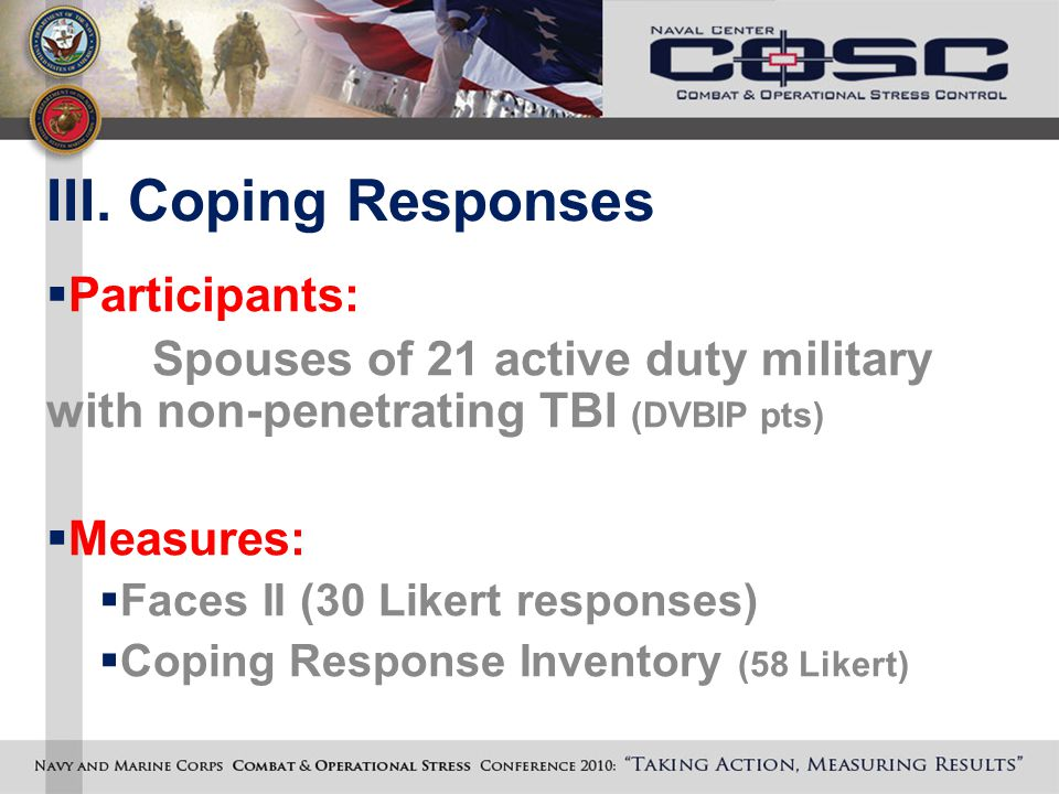 III. Coping Responses  Participants: Spouses of 21 active duty military with non-penetrating TBI (DVBIP pts)  Measures:  Faces II (30 Likert respon