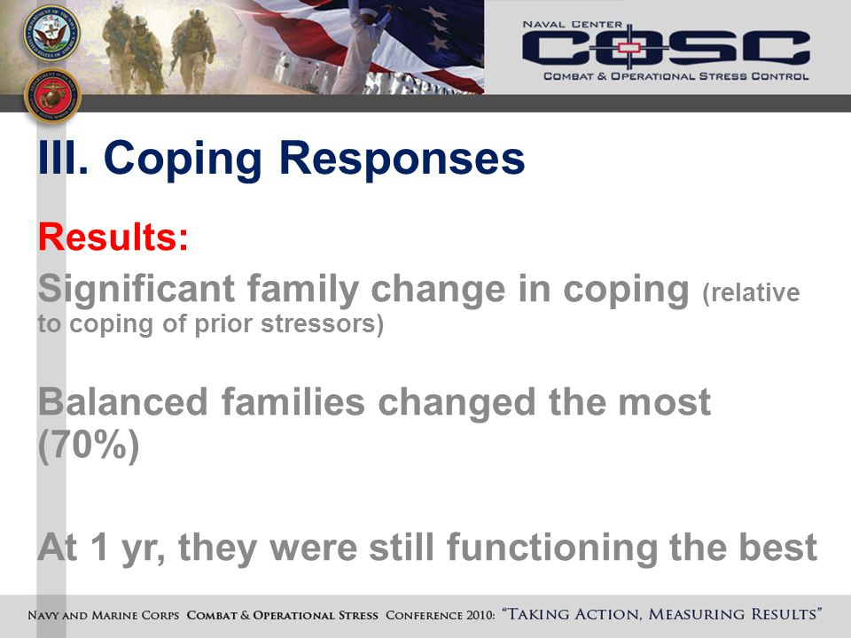 III. Coping Responses Results: Significant family change in coping (relative to coping of prior stressors) Balanced families changed the most (70%) At
