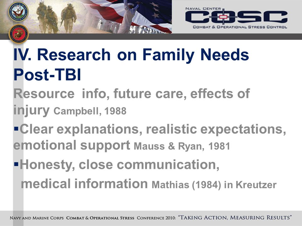 IV. Research on Family Needs Post-TBI Resource info, future care, effects of injury Campbell, 1988  Clear explanations, realistic expectations, emoti