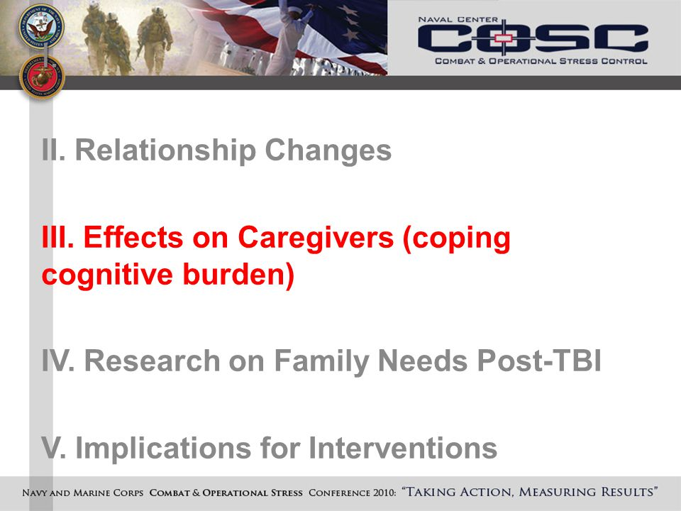 I. II. Relationship Changes III. Effects on Caregivers (coping cognitive burden) IV.