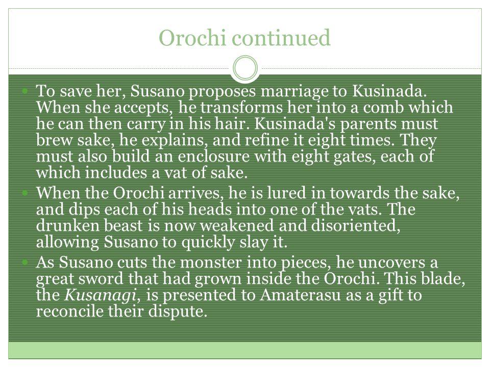 Yamata no Orochi The serpent Yamato no Orochi. 八岐の大蛇。