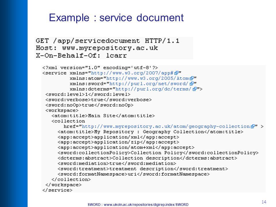 SWORD : www.ukoln.ac.uk/repositories/digirep.index/SWORD 14 Example : service document