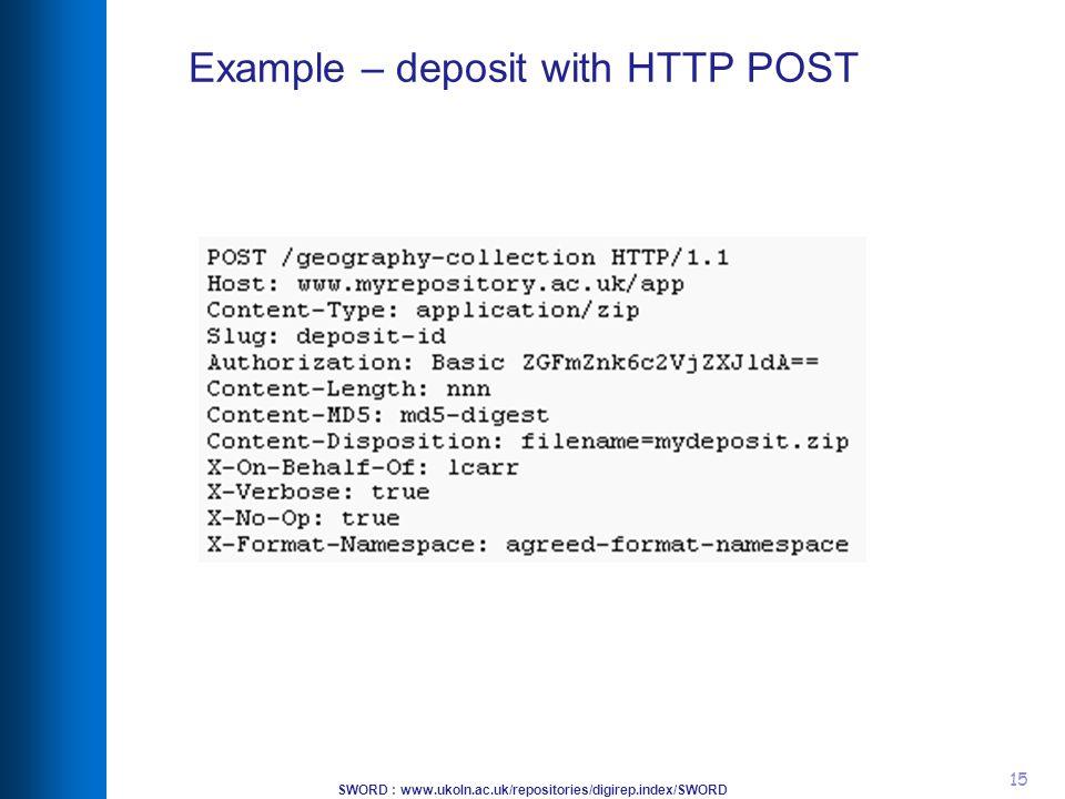 SWORD : www.ukoln.ac.uk/repositories/digirep.index/SWORD 15 Example – deposit with HTTP POST