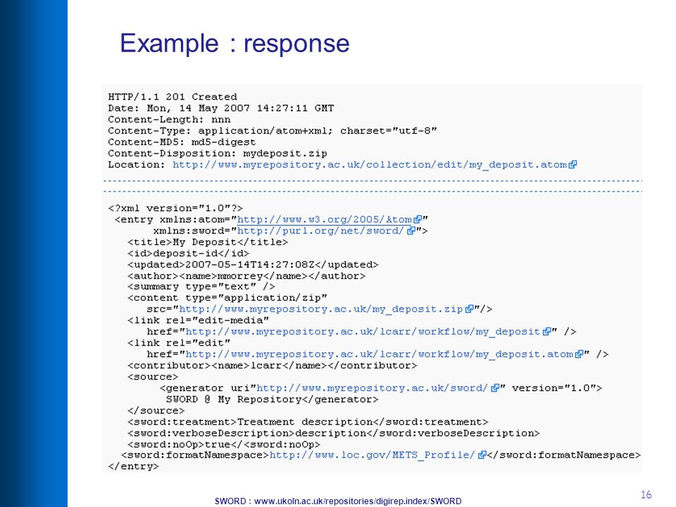 SWORD : www.ukoln.ac.uk/repositories/digirep.index/SWORD 16 Example : response