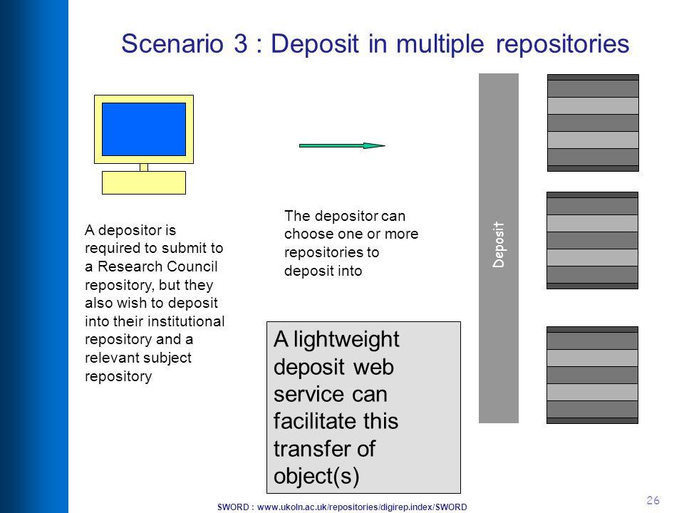 SWORD : www.ukoln.ac.uk/repositories/digirep.index/SWORD 26 Scenario 3 : Deposit in multiple repositories Deposit The depositor can choose one or more