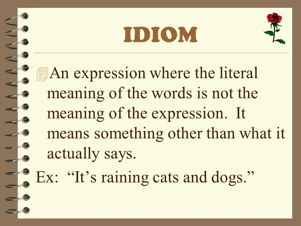 IDIOM 4 An expression where the literal meaning of the words is not the meaning of the expression. It means something other than what it actually says