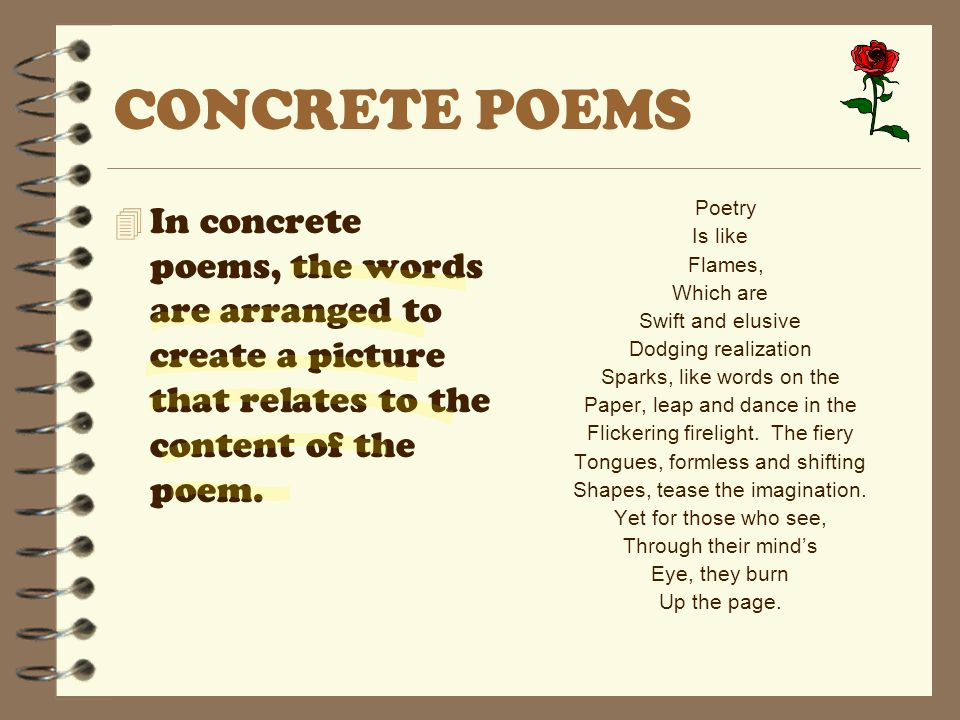 CONCRETE POEMS 4 In concrete poems, the words are arranged to create a picture that relates to the content of the poem. Poetry Is like Flames, Which a
