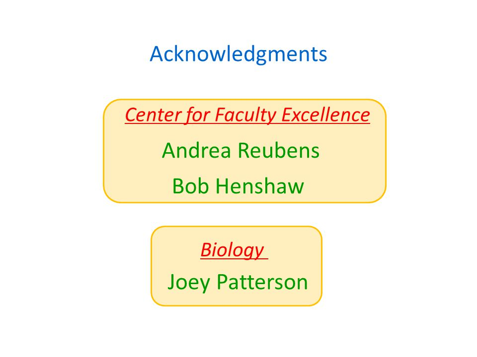 Acknowledgments Bob Henshaw Andrea Reubens Center for Faculty Excellence Biology Joey Patterson