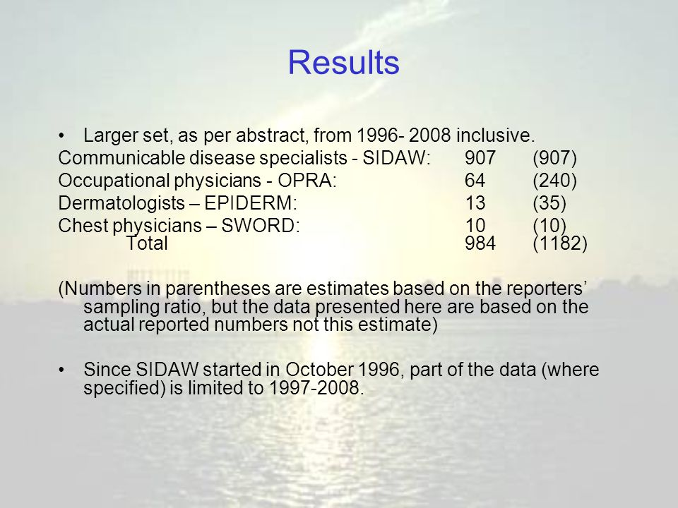 Results Larger set, as per abstract, from 1996- 2008 inclusive. Communicable disease specialists - SIDAW:907(907) Occupational physicians - OPRA:64 (2