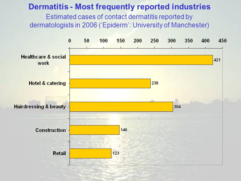 Dermatitis - Most frequently reported industries Estimated cases of contact dermatitis reported by dermatologists in 2006 ('Epiderm': University of Ma