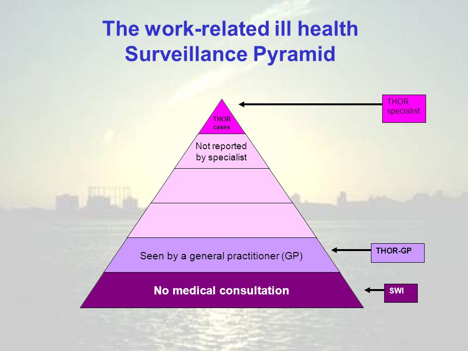 Not reported by specialist Seen by a general practitioner (GP) No medical consultation SWITHOR-GPTHOR specialist The work-related ill health Surveilla