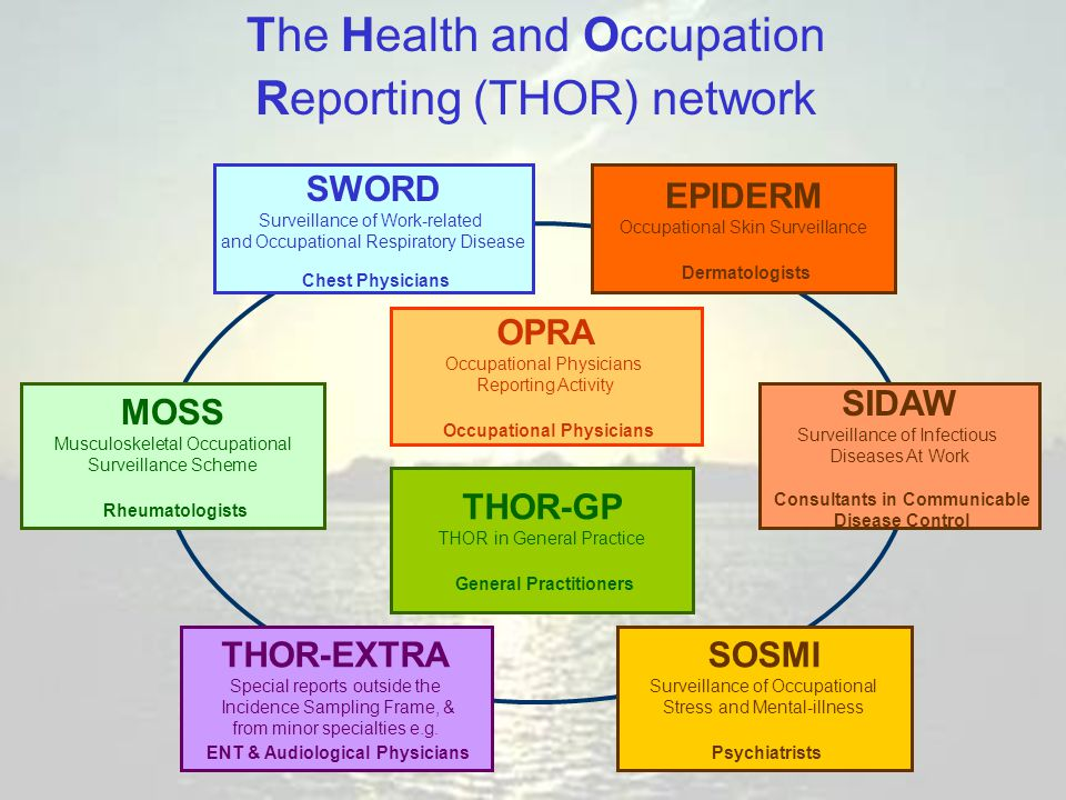 OPRA Occupational Physicians Reporting Activity Occupational Physicians MOSS Musculoskeletal Occupational Surveillance Scheme Rheumatologists THOR-EXTRA Special reports outside the Incidence Sampling Frame, & from minor specialties e.g.