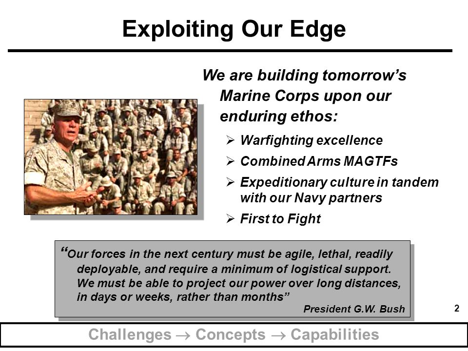 3 Sharpening the Sword Strategic Challenges inform our Concepts Warfighting Concepts frame our Capabilities Relevant Capabilities define our Contribution to the Nation Challenges  Concepts  Capabilities