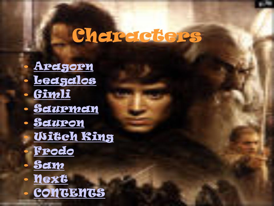 Contents Creatures Characters About The Author Actors GALLERY
