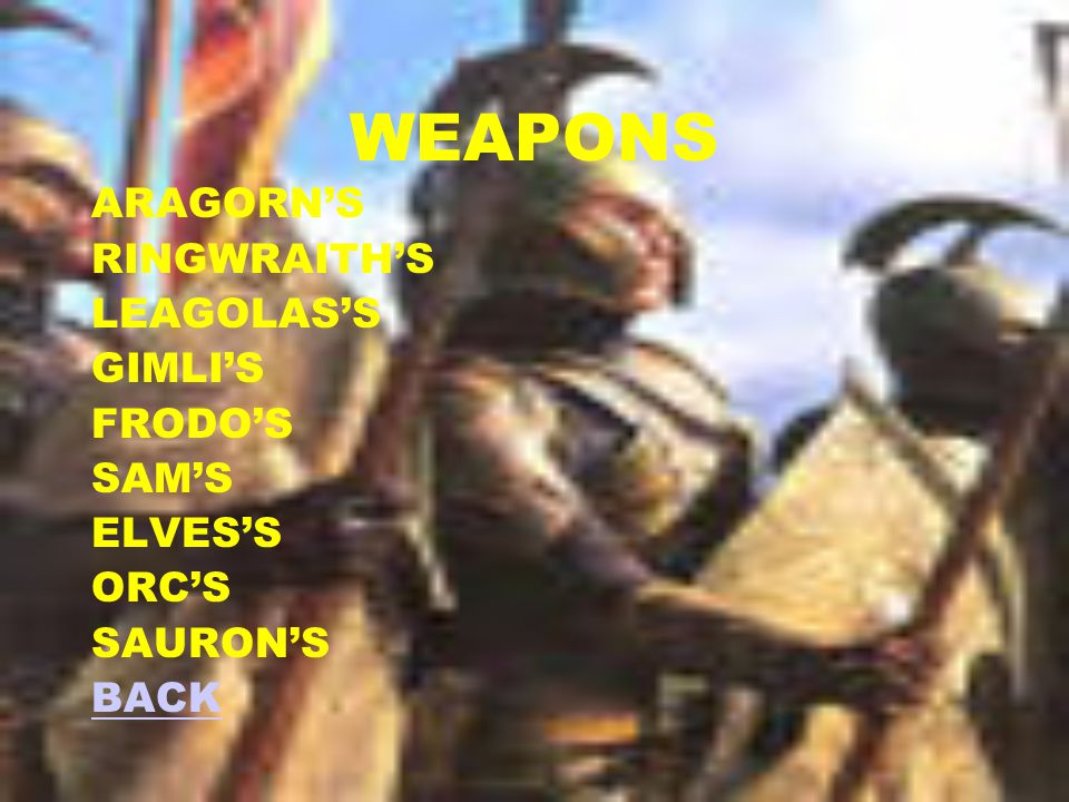 Characters Aragorn Leagalos Gimli Saurman Sauron Witch King Frodo Sam Next CONTENTS