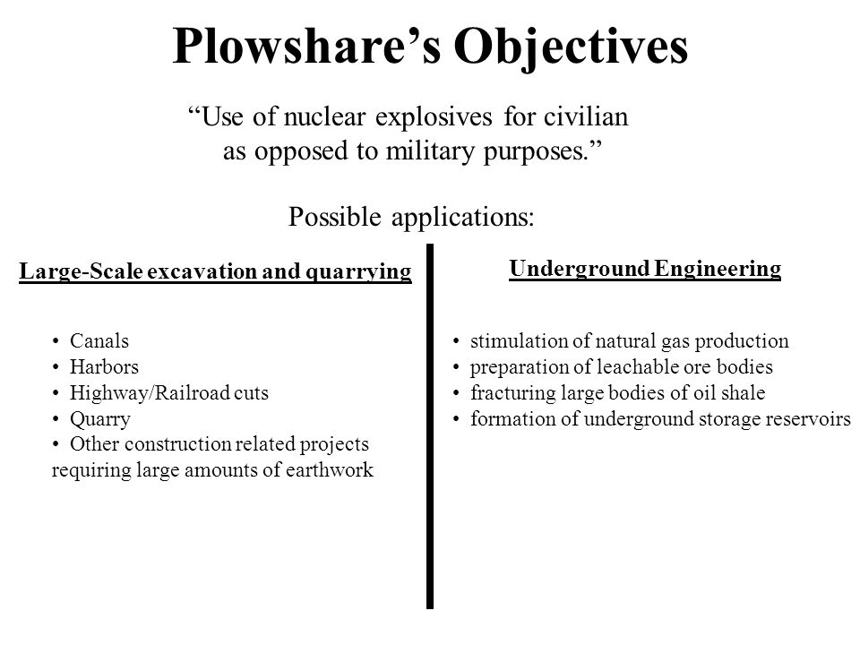 "Plowshare's Objectives ""Use of nuclear explosives for civilian as opposed to military purposes."" Possible applications: Large-Scale excavation and qua"