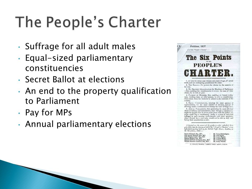 Suffrage for all adult males Equal-sized parliamentary constituencies Secret Ballot at elections An end to the property qualification to Parliament Pay for MPs Annual parliamentary elections