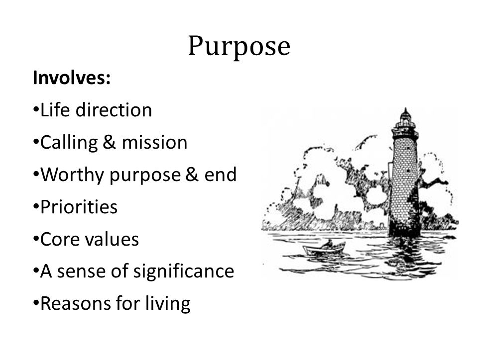 Purpose Involves: Life direction Calling & mission Worthy purpose & end Priorities Core values A sense of significance Reasons for living