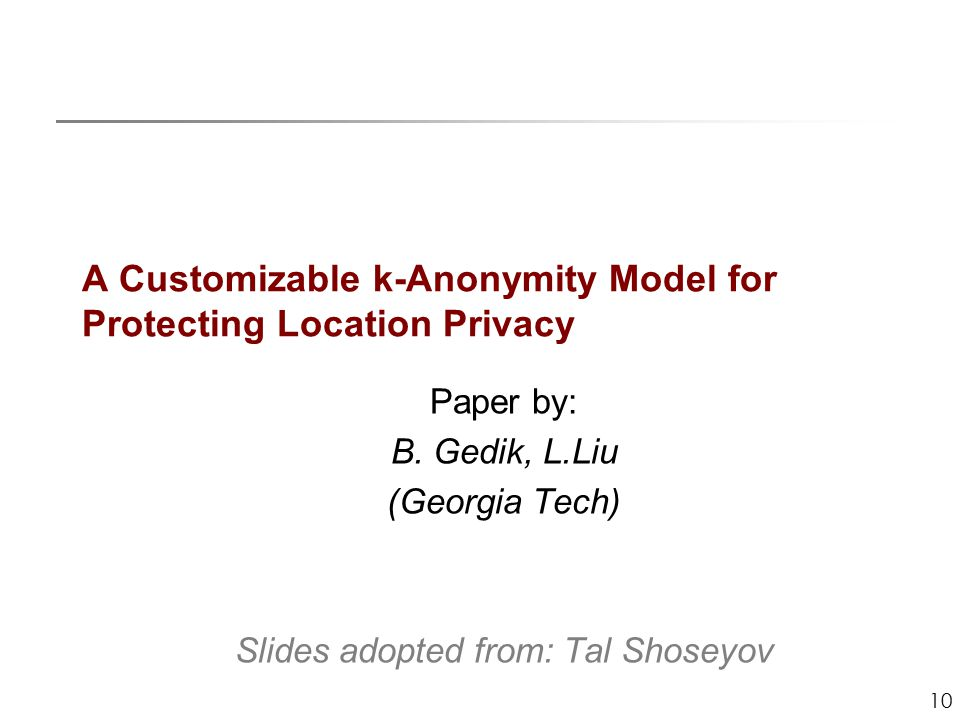10 A Customizable k-Anonymity Model for Protecting Location Privacy Paper by: B.