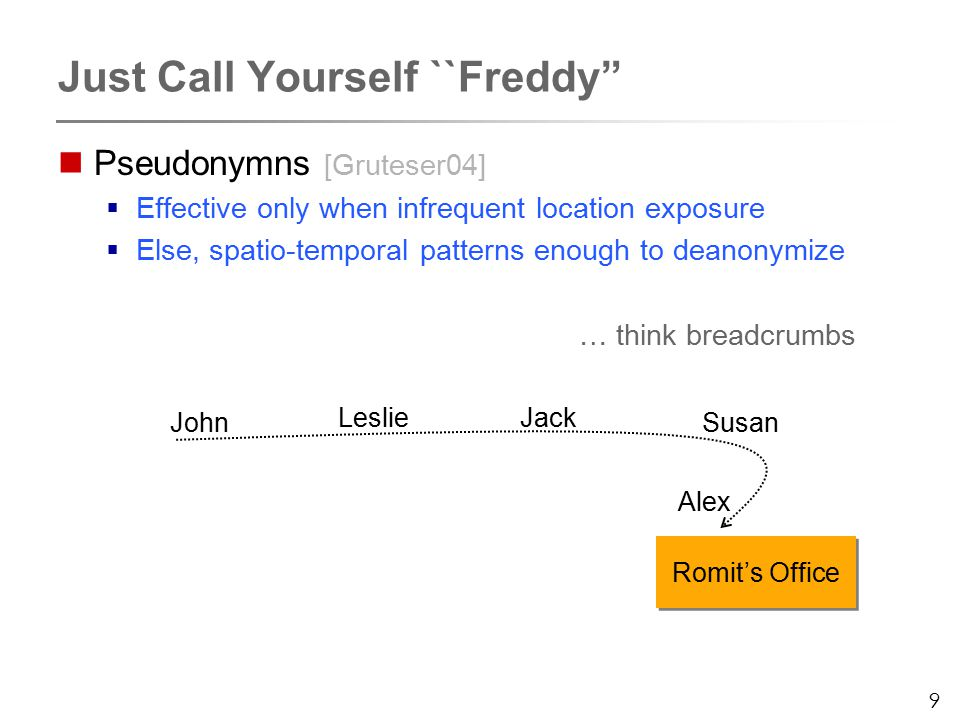 9 Just Call Yourself ``Freddy Pseudonymns [Gruteser04]  Effective only when infrequent location exposure  Else, spatio-temporal patterns enough to deanonymize … think breadcrumbs Romit's Office John LeslieJack Susan Alex