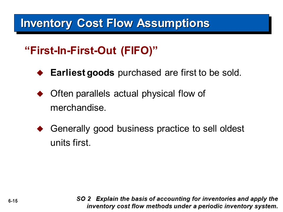 6-15  Earliest goods purchased are first to be sold.