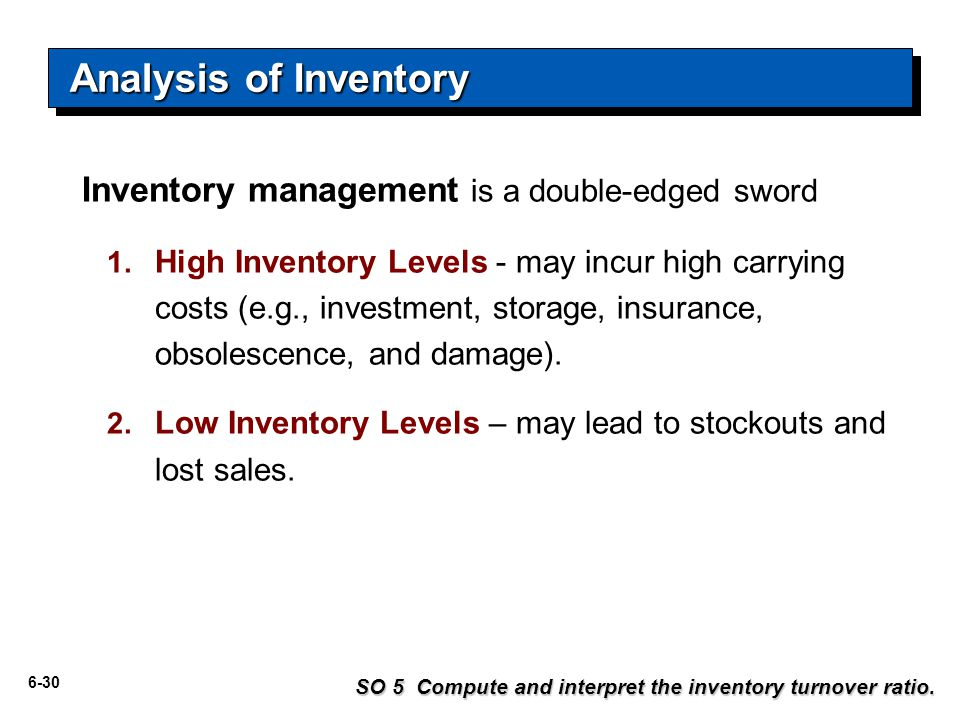 6-30 Analysis of Inventory Inventory management is a double-edged sword 1.
