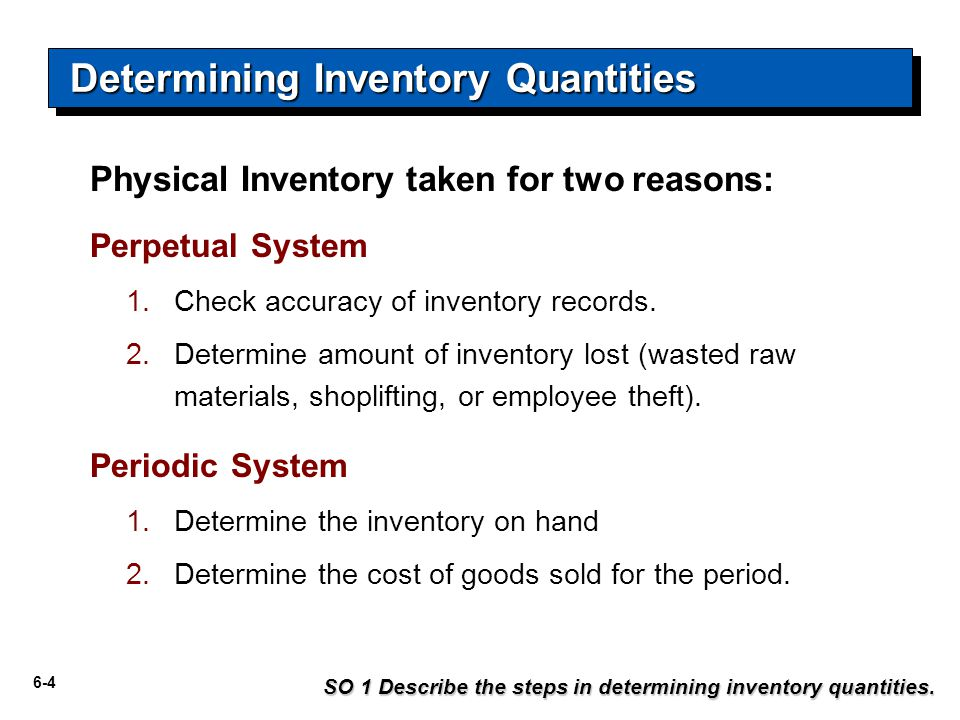6-4 Physical Inventory taken for two reasons: Perpetual System 1.Check accuracy of inventory records.