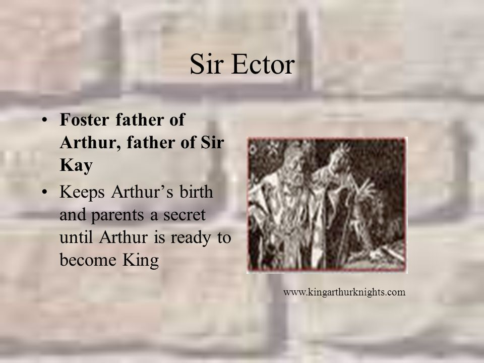Sir Ector Foster father of Arthur, father of Sir Kay Keeps Arthur's birth and parents a secret until Arthur is ready to become King www.kingarthurknights.com