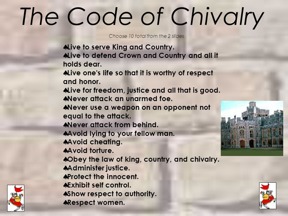 The Code of Chivalry Choose 10 total from the 2 slides  Live to serve King and Country.