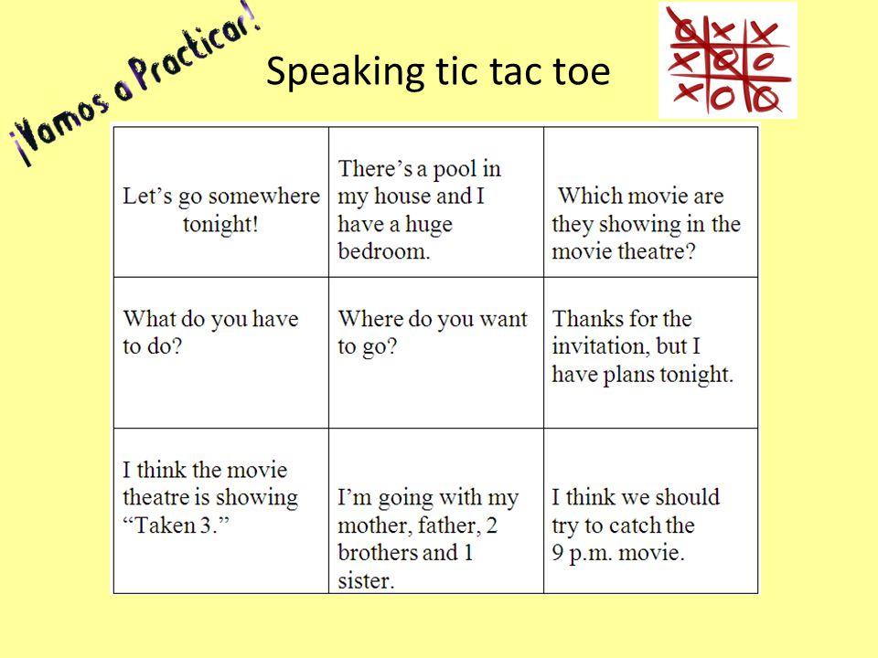Speaking tic tac toe