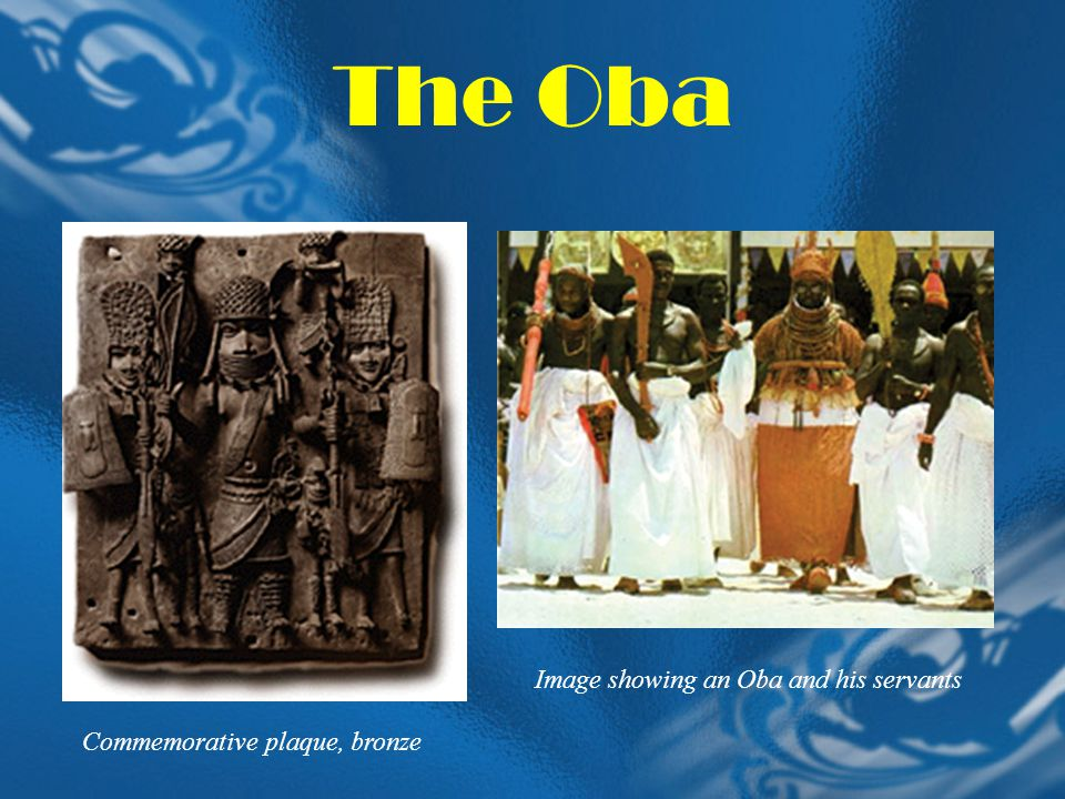 The Oba Image showing an Oba and his servants Commemorative plaque, bronze