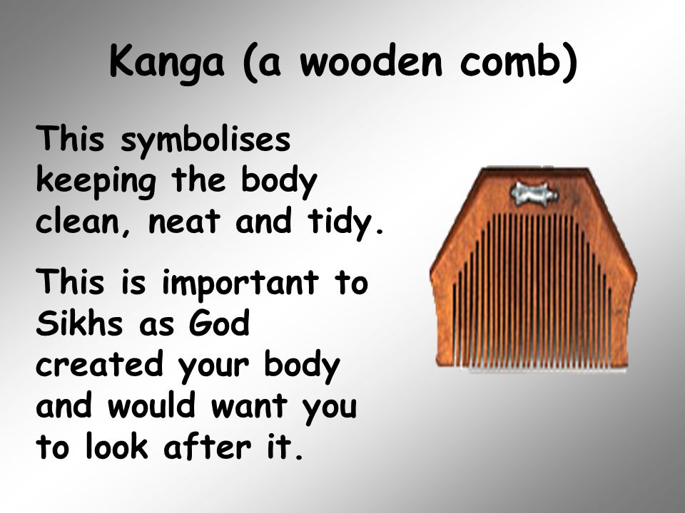Kanga (a wooden comb) This symbolises keeping the body clean, neat and tidy.