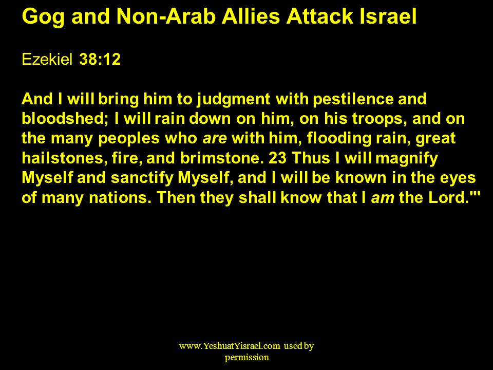 Gog and Non-Arab Allies Attack Israel Ezekiel 38:12 And I will bring him to judgment with pestilence and bloodshed; I will rain down on him, on his troops, and on the many peoples who are with him, flooding rain, great hailstones, fire, and brimstone.