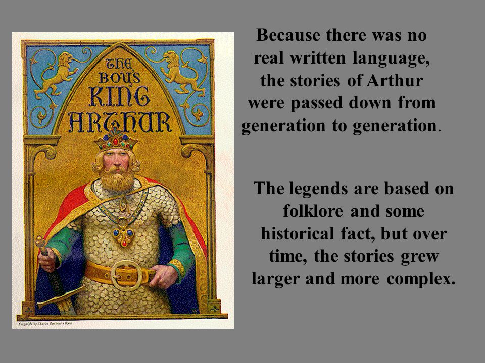 Because there was no real written language, the stories of Arthur were passed down from generation to generation.