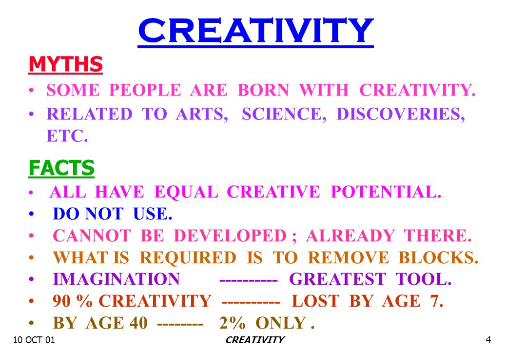 10 OCT 014CREATIVITY FACTS ALL HAVE EQUAL CREATIVE POTENTIAL. DO NOT USE. CANNOT BE DEVELOPED ; ALREADY THERE. WHAT IS REQUIRED IS TO REMOVE BLOCKS. I